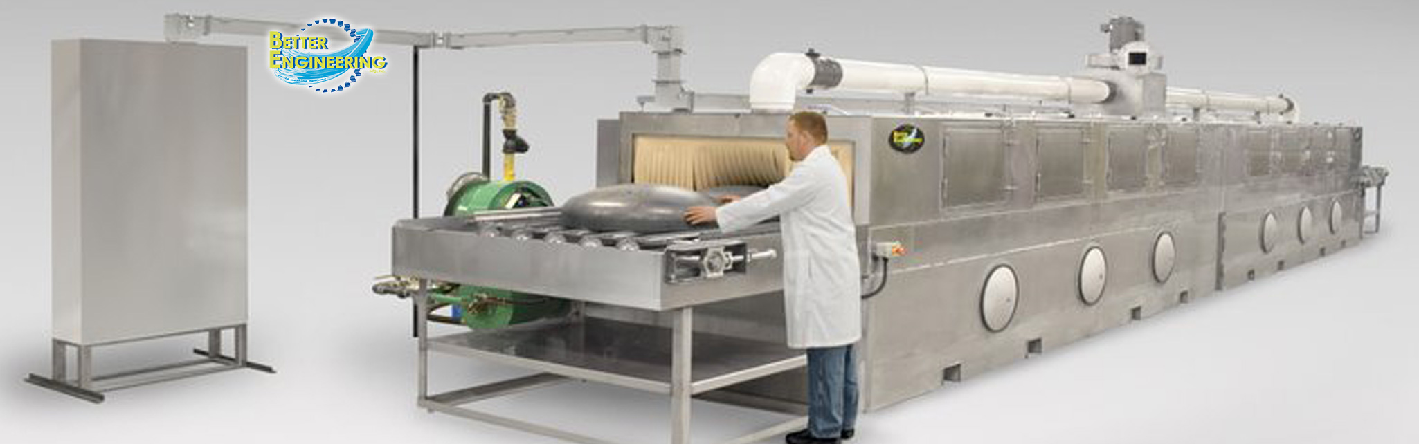 Better Engineering offers a full line of in-line cleaning systems including Turntable Washers, Conveyor Washers, Immersion-Ultrasonic Washers, Tumbling Washers, Drum Washers, RTO Washers, and Custom Washers